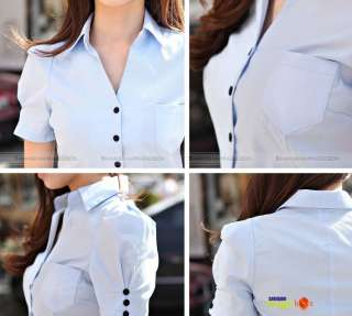 2012 Women Short Puff Sleeve Slim Fit Cotton OL Blouse Shirt Top