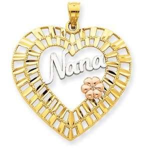 Yellow & Rose Gold w/Rhodium Diamond cut Nana Heart Pendant Jewelry
