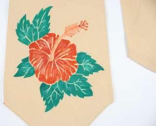 VTG HAND PAINTED 40s/50s FLOWER/SWING TIE/NECKTIE