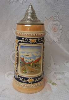 Vintage Large GERZ German Lidded Beer Stein Mug