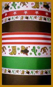 Magical Mouse GIDDY UP COWBOY Western Grosgrain Ribbon Mix 10Y for