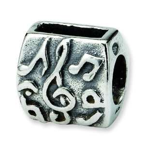 SimStars Reflections Sterling Silver Treble Clef & Notes