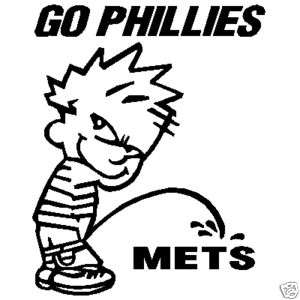 BOY PEEING METS GO PHILLIES VINYL CAR STICKER DECAL