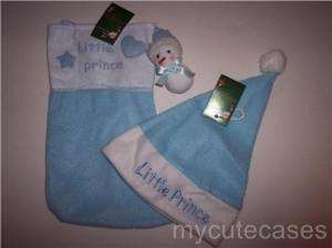 NEW blue LITTLE PRINCE Christmas stocking & cap set
