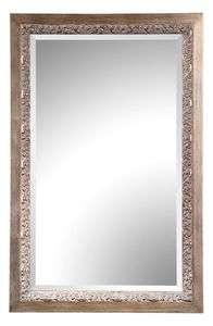 Silver Framed Wood FLOOR MIRROR Leaf Designed Edge 57H NEW