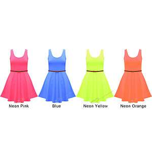 NEW WOMENS LADIES NEON CLUB PARTY SKATER DRESS ORANGE PINK YELLOW BLUE