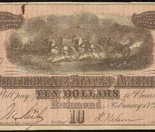 1864 $10 DOLLAR BILL RICHMOND CONFEDERATE CURRENCY NOTE T68 CIVIL WAR