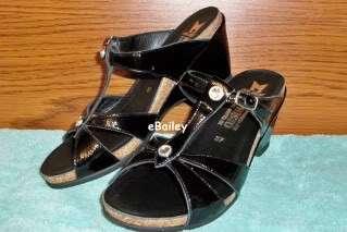 Ladies Black Patent Leather sandals slides NAZLI 7 / 37 NEW