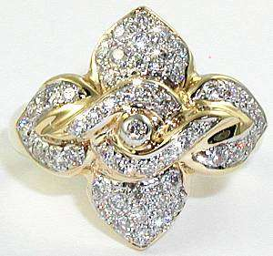 BEAUTIFUL HIGH QUALITY DIAMOND FLOWER RING 14K