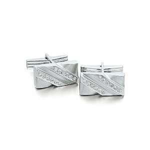 Solid 14k White Gold Wave Diamond Cufflinks Solid 14k Gold Jewelry