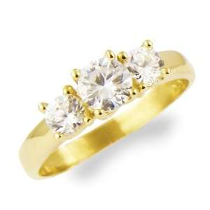 Anniversary Ring CZ Cubic Zirconia Yellow Gold Jewelers Mart Jewelry