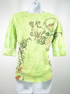 NWT cUT cUTE cOUTURE Green Graphic 3/4 Sleeve Shirt L