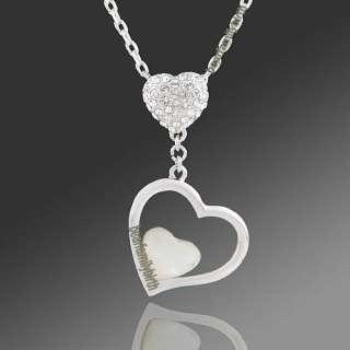 18K gold Gp Swarovski Crystal &shell heart necklace N22