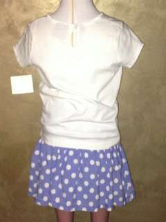EUC MINI BODEN 2 pc. set white tee and blue polka dot skirt w/ shorts