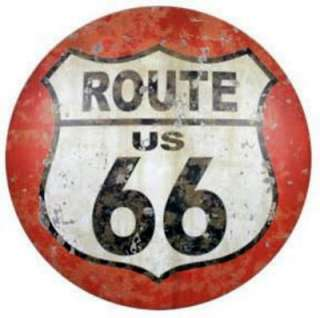 Metal   Tin Sign ROUTE 66 DOMED VINTAGE METAL SIGN