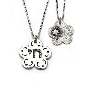 Alef Bet Flower Chai/Star Necklace by Neta
