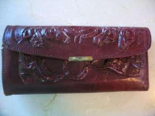 Vintage Tooled Leather Purse Handbag Hecho En Mexico