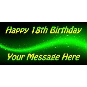 3x6 Vinyl Banner   Happy 18th Birthday Your Message Here
