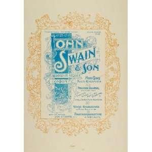 1897 Print Ad John Swain & Son Engravers Art Nouveau   Original Print