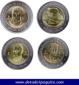 PESOS COIN SET MEXICO COMPLETE COLLECTION REVOLUTION