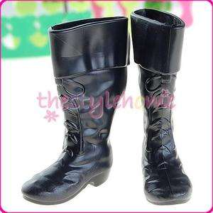 1pair For Barbie BF Ken Doll Black Knee High Boot Shoes