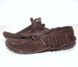 VTG 7 MINNETONKA Brown suede leather ankle boots fringe Moccasin