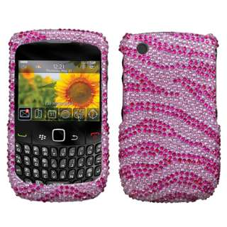Fr Blackberry Curve 8520 HP/PK Zebra Bling Case Cover V