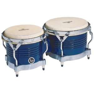 LP Matador M201 BLWC Wood Bongos (Blue, Chrome) Musical