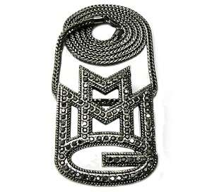 ICED OUT MMG PENDANT + NECKLACE BLACK BLACK/RED GOLD SILVER