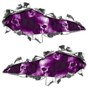 Ripped / Torn Metal Look Decals With Purple Skulls