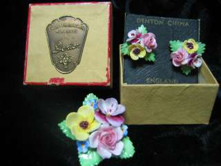 Denton Fine Bone China Handmade England Brooch Pin & Earring Set With