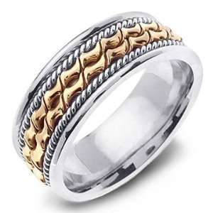 HEPHAESTUS 14K Two Tone Gold Hand Carved Wedding Band Ring