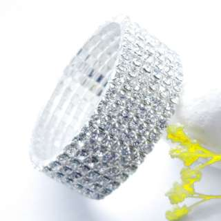 Crystal Rhinestone Wedding Party Stretch Bangle Bracelet Bling Jewelry