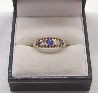 Antique Beautiful 18ct Gold Cornflower Blue Sapphire & Diamond Ring