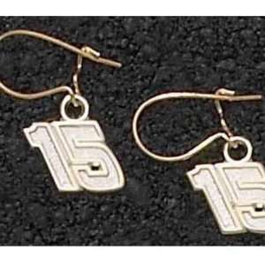 Michael Waltrip #15 Gold Plated Dangle Earrings Sports