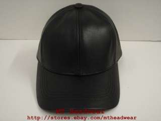 PLAIN BLANK LEATHER BASEBALL CAP HAT **MADE IN USA**