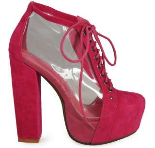 NEW WOMENS LADIES CLEAR SUEDE LACE UP PLATFORM HIGH BLOCK HEEL SHOES