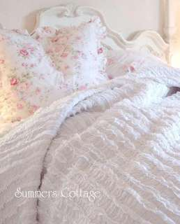 SHABBY COTTAGE CHIC DREAMY WHITE RAG RUFFLES TWIN QUILT