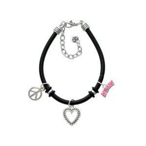 Hot Pink Glitter Meow Black Peace Love Charm Bracelet