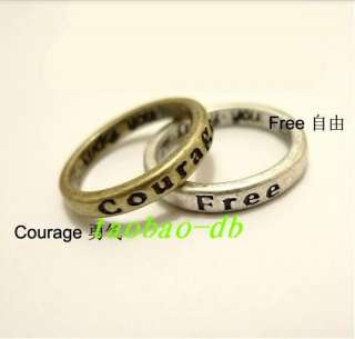 Pcs HOPE LOVE LUCK PEACE Free Belief Wisdom Courage Ring