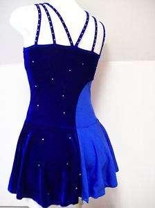 NEW 2 Blue Crystal Straps Ice Skating Dress AL runs sm