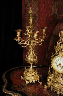 ANTIQUE FRENCH ORIGINAL GILT BRASS LOUIS XVI STYLE CANDELABRA CLOCK