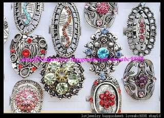 50pcs Exquisite delicate rhinestone imitate Antique tone rings