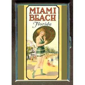 Miami Beach, Florida Vintage Ad ID Holder, Cigarette Case