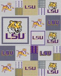 College LSU Louisiana State University Tigers Print Fleece Fabric