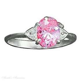Sterling Silver Double Heart Shank Pink Ice Ring Size 5 Jewelry