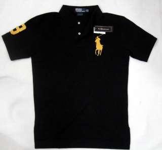 New Ralph Lauren Mens Big Pony Polo Shirt No.3 Black/Gold