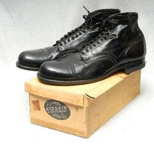 VTG 40s 50s NOS Kidskin Kangaroo Cap Toe Low Top Boots Shoes Patent
