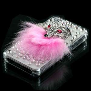 For Apple iPhone 4 4S Crystal Diamond BLING Case Phone Cover, Pink Fox