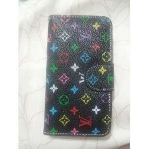 Wallet Lv Monogram Leather Flip Case for Iphone 4 4s Black